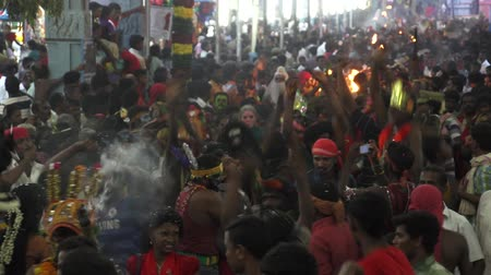 teatral : Devotees dancing in crowd at Hindu festival in Sri Mutharamman Temple at Thoothukudi district,Tamilnadu,India