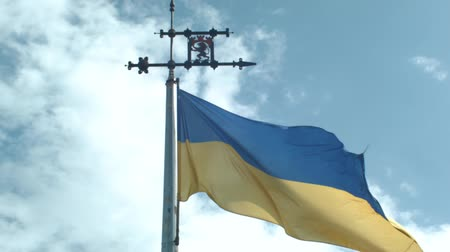 UKRAINIAN FLAG ON THE OLD TOWER OF LVOV