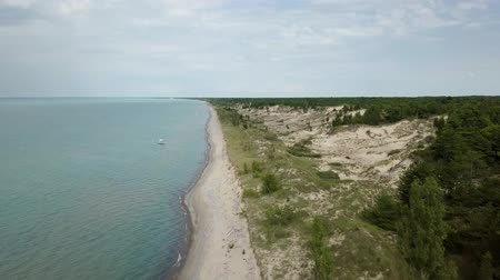 superior : Lake Huron, beach and water. Aerial view. 4k.