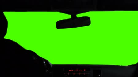 inside car : View from inside a car windshield green screen Stock Footage