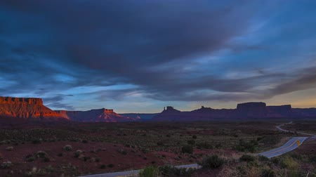 southwest : Route 128 near Moab Utah at Sunset Castle Valley, Parriot Mesa, Timelapse made from high quality raw files