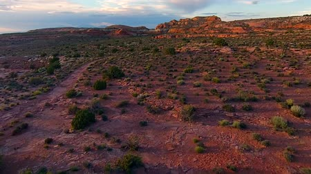 north america : Utah Landscape Aerial flight over dirt road ,the desert Stock Footage