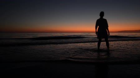 caminhada : Girl walking on the beach after sunset