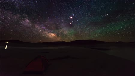 yolları : Tent Stars Milky Way time-lapse Stok Video