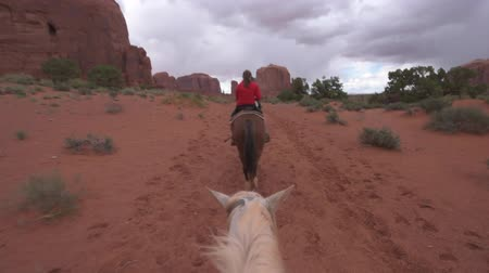 deserto : Young Woman on a horse trail in Monument Valley View from the horse behind HD