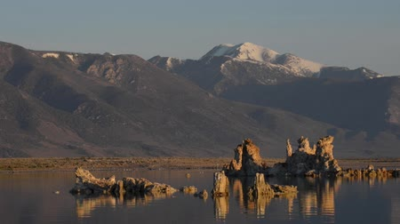 mono lake : Sunrise at Mono Lake Sierra Nevada range in the background California Landscape USA Stock Footage