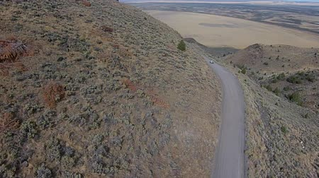 campbell : Car on a dirt road Hart Mountain Antelope Refuge Aerial Oregon