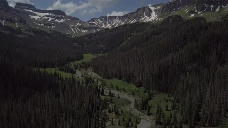 plateau : West Cimarron River with coxcomb redcliff Aerial Wetterhorn Basin Stock Footage
