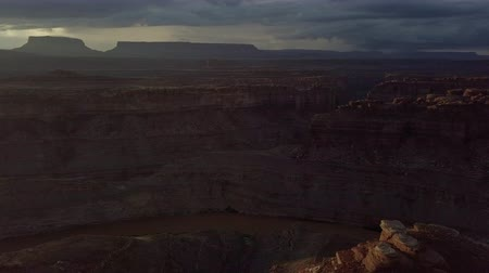 aro : Colorado River near The Loop West and East Needles District of the Canyonlands Utah USA Aerial Stock Footage
