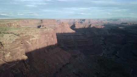 moab : Slow Aerial at Sunset East Fork Shafer Canyon near Dead Horse Point State Park Canyonlands Utah USA