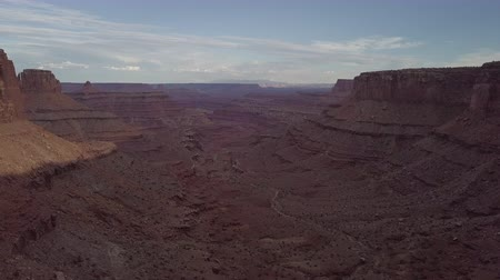 moab : East Fork Shafer Canyon near Dead Horse Point State Park Canyonlands Utah USA Slow Aerial