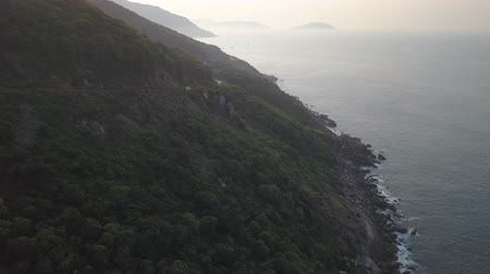 Beautiful coastline of the Thq Quang Island in Da Nang, Vietnam Aerial Footage
