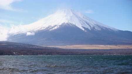 lakeshore : Mt. Fuji over Lake Yamanaka Stock Footage