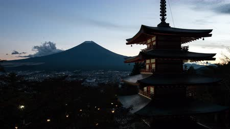 alkony : Mt. Fuji over a Pagoda at Dusk (zoom out)