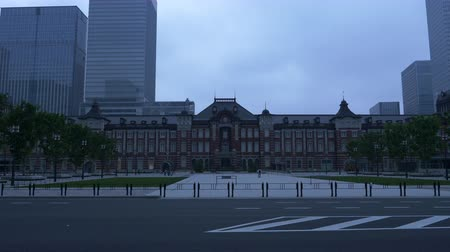 thoroughfare : Marunouchi District in the Central Tokyo in the Early Morning Stock Footage
