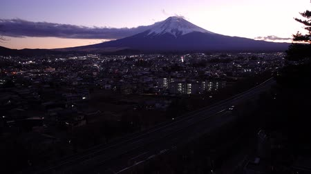 mt : Mt. Fuji over the City of Fujiyoshida at Dusk