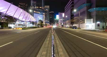 chuo city : Traffic in the Central Tokyo at Night (tilt up)