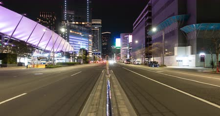 chuo city : Traffic in the Central Tokyo at Night (tilt down)