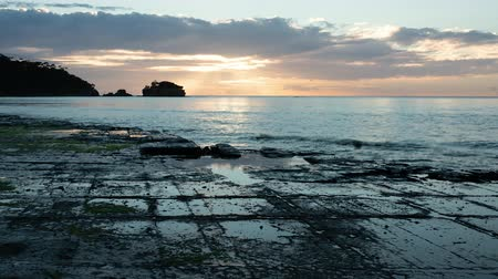 tasmania : Tessellated Pavement in Eaglehawk Neck, Tasmania at Sunset (time lapse) Stock Footage
