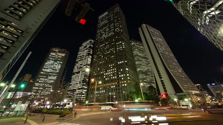 thoroughfare : Urban Skyline in Shinjuku Tokyo at Night (time lapse) Stock Footage