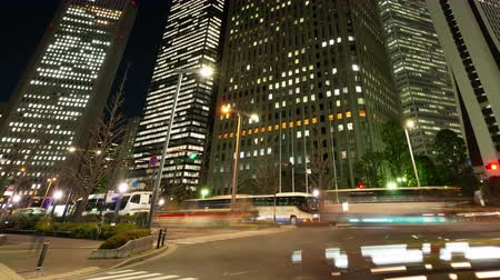 night life : City Traffic in Shinjuku Tokyo at Night (panning)