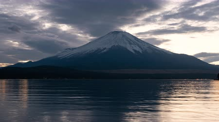 lakeshore : Mt. Fuji over Lake Yamanaka at Dusk (zoom out)