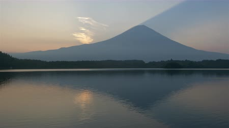 lakeshore : Mt. Fuji over Lake Tanuki at Sunrise (panning)