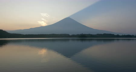 lakeshore : Mt. Fuji over Lake Tanuki at Sunrise (time lapse) Stock Footage