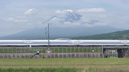 shinkansen : Shinkansen Bullet Train Passing by Mt. Fuji (panning) Stock Footage