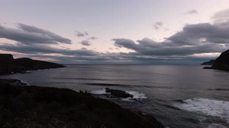 tasmania : Maingon Bay Lookout at Sunset (time lapse  zoom out) Stock Footage