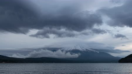 lakeshore : Mt. Fuji with Big Lenticular Clouds over Lake Yamanaka (time lapsepanning)
