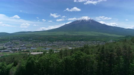 snowcapped : Mt. Fuji Captured from Mt. Takazau in Ohino Vil..., Yamanashi Pref. in May (time lapse) Stock Footage