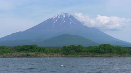 fuji : Mt. Fuji over Lake Shoji on a Sunny Spring Day (close up) Stock Footage