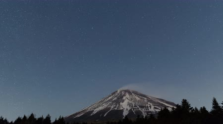 rüzgârla oluşan kar yığını : Stars Turning Around the North Pole over Mt. Fuji (zoom in) Stok Video