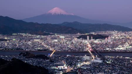 lookout point : Mt. Fuji over the Center of the Shizuoka City (sunset to night time lapsepan)
