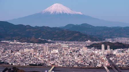 lookout point : Mt. Fuji over the Center of the Shizuoka City (sunset to night time lapsezoom in)