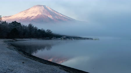snowcapped : Mt. Fuji Emerging from the Fog in the Morning (Time LapsePanning)