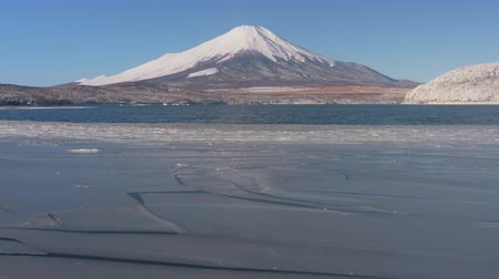 snowcapped : Mt. Fuji over a Half Frozen Lake in Winter (in real timezoom)