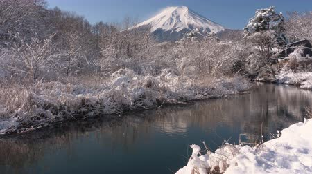 fujiyama : Mt. Fuji over a Stream and Snowy Forest (real timezoom in)