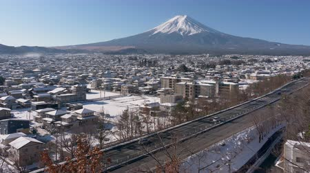 mevcut : Mt. Fuji over the Highways and Snowy Town