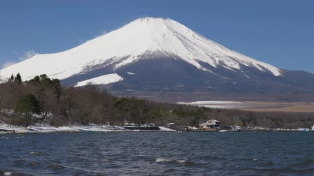 lakeshore : Mt. Fuji over Lake Yamanaka in Winter (panning)