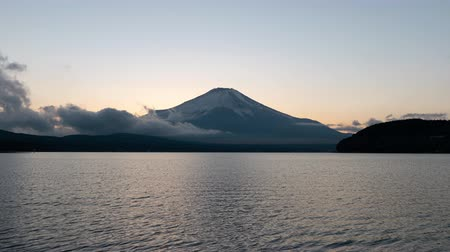 lakeshore : Mt. + Fuji + over + Lake + Yamanaka + at + Sunset +% 28time + lapse% 29
