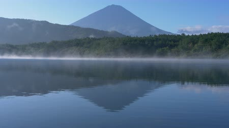 lakeshore : Mt. Fuji Reflected in Lake Sai Stock Footage