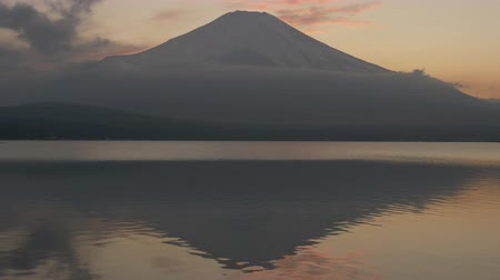 snowcapped : Mt. + Fuji + over + Lake + Yamanaka + at + Sunset +% 28tilt + up% 29