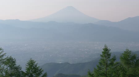 lookout point : Mt. Fuji over the Kofu Basin from Mt. Amari in a Sunny Spring Morning (real time  audio  tilt up)