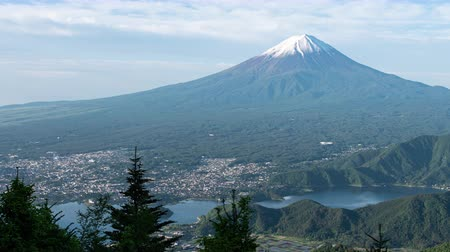 lookout point : Mt. Fuji over Lake Kawaguchi Captured from Shindo Pass (time lapsepanning) Stock Footage