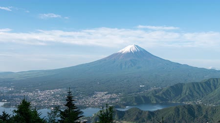 lookout point : Mt. Fuji over Lake Kawaguchi Captured from Shindo Pass (time lapsetilt down) Stock Footage