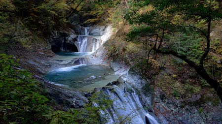 tilt down : Scenic Water Fall in Autumn (Tilt Down) (5 steps 7 pools falls in Nishizawa Gorge, Japan)