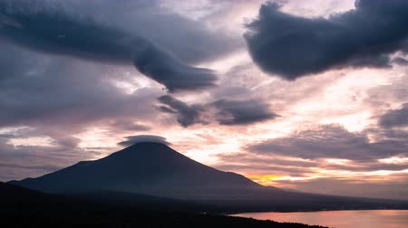 lookout point : Mt. Fuji with Lenticular Clouds at Sunset (time lapsetilt down) Stock Footage