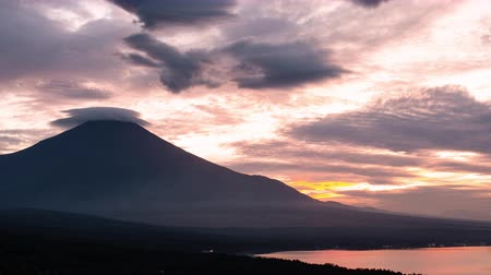 lookout point : Mt. Fuji with Lenticular Clouds at Sunset (time lapsepanning) Stock Footage